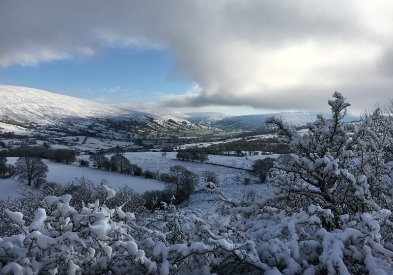Snow scene in north england uk